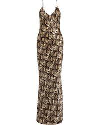 Nili Lotan Snake-print Silk-charmeuse Maxi Dress - Brown