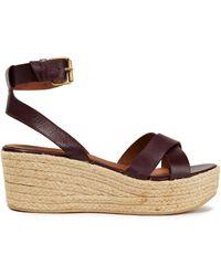 Ba&sh Leather Espadrille Platform Sandals - Multicolour