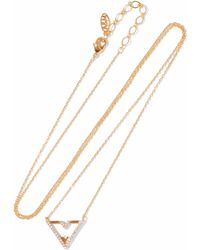 Astrid & Miyu - Fitzgerald Triangle Gold-plated Crystal Necklace - Lyst