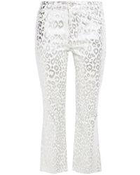 J Brand Selena Metallic Leopard-print Cotton-blend Corduroy Bootcut Pants - White