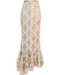 Brock Collection Asymmetric Fluted Corded Lace Maxi Skirt - Natural