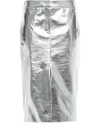 Tibi Metallic Faux Crinkled-leather Pencil Skirt Silver