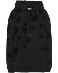 McQ Flocked French Cotton-terry Hoodie - Black