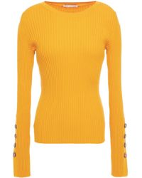 Cotton by Autumn Cashmere - Button-detailed Ribbed Cotton-blend Sweater Marigold - Lyst