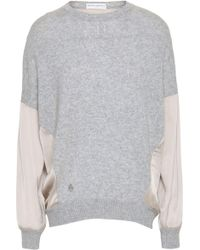 Amanda Wakeley - Woman Satin-paneled Cashmere And Wool-bend Top Light Gray - Lyst