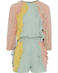 Valentino Ruffled Color-block Silk-georgette Playsuit Multicolour