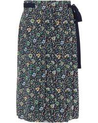 Tory Burch - Pleated Floral-print Silk Skirt - Lyst