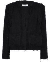 IRO - Woman Frayed Cotton-blend Bouclé-tweed Jacket Black - Lyst