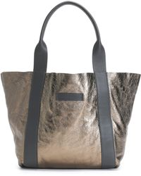 Brunello Cucinelli - Reversible Metallic Cracked-leather Tote - Lyst