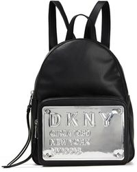 DKNY Embossed Mirrored Faux Leather And Shell Backpack Black