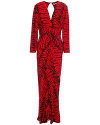 RIXO London Rose Cutout Tiger-print Silk Crepe De Chine Maxi Dress - Red