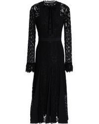 Temperley London - Velvet-trimmed Fluted Corded Lace And Voile Midi Dress - Lyst