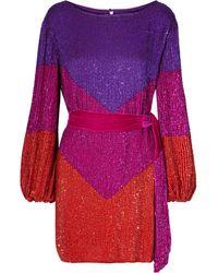 retroféte Retrofête Grace Velvet-trimmed Sequined Chiffon Mini Dress Multicolour - Red