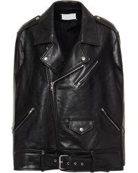 Maison Margiela Oversized Satin-paneled Textured-leather Biker Jacket - Black