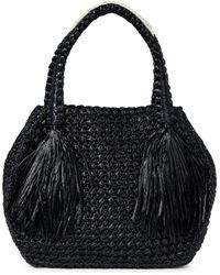 Simone Rocha Leather-trimmed Fringed Raffia Tote - Black