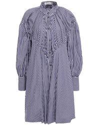 Palmer//Harding Gathered Striped Cotton-poplin Mini Shirt Dress - Blue