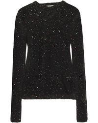 Michelle Mason Cold-shoulder Sequin-embellished Cotton-blend Jumper Black
