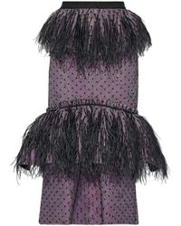 Brock Collection Embellished Layered Tulle And Brocade Midi Skirt Lavender - Multicolor