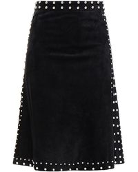 RED Valentino Studded Suede Skirt - Black