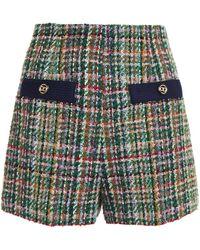 Sandro Shorts aus tweed mit zierknöpfen - Grün