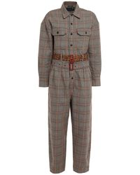 R13 Belted Prince Of Wales Checked Cotton-jacquard Jumpsuit - Black