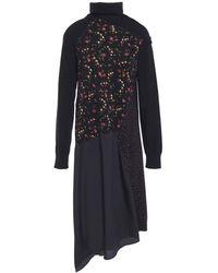 McQ Asymmetric Stretch-knit, Floral-print Cotton-blend And Crepe De Chine Dress Black