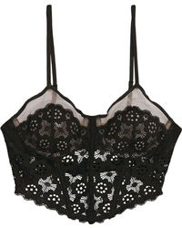 Fleur du Mal - Corded Lace, Stretch-tulle And Jersey Underwire Bustier -  Lyst