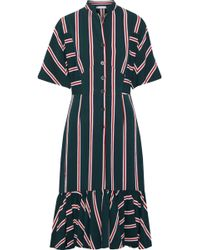 TOME - Gathered Striped Twill Midi Dress Forest Green - Lyst