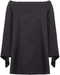 Tibi Off-the-shoulder Tie-detailed Cotton-poplin Top Black