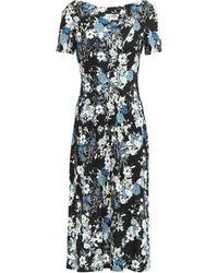 Erdem Floral-print Ponte Dress Black
