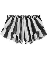 Caroline Constas Gestreifte shorts aus chiffon mit rüschen - Schwarz