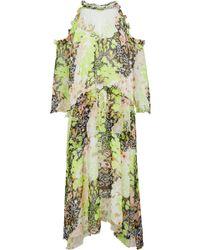 Opening Ceremony - Cold-shoulder Embellished Printed Georgette Midi Dress Chartreuse - Lyst