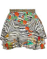 Camilla Crystal-embellished Draped Printed Silk Crepe De Chine Shorts Animal Print - Multicolour