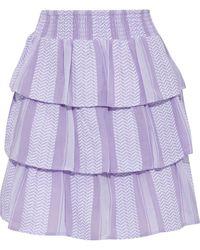 Cecilie Copenhagen Cecilie Copenhagen Tiered Cotton-jacquard Mini Skirt - Purple