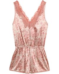 Stella McCartney - Lace-trimmed Polka-dot Satin Playsuit - Lyst