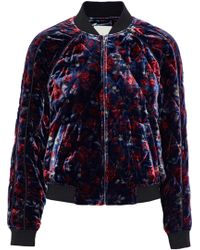 Joie - Mace Quilted Floral-print Velvet Bomber Jacket - Lyst