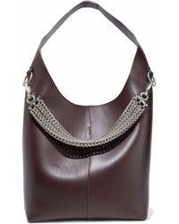 Alexander Wang - Genesis Chain-embellished Leather Shoulder Bag Dark Brown - Lyst