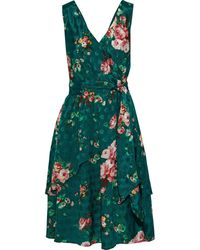 W118 by Walter Baker Kelson Wrap-effect Layered Floral-print Jacquard Dress - Green