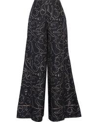 ROKSANDA - Oldridge Printed Silk-twill Wide-leg Pants - Lyst