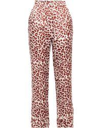 Love Stories Weekend Printed Satin Pyjama Trousers Tan - Red