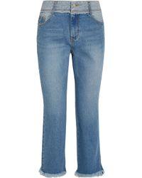 SJYP Cropped Mid-rise Straight-leg Jeans Mid Denim - Blue
