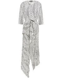 Maje Rosa Asymmetric Cupro-blend Leopard-jacquard Midi Dress White