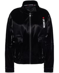 Love Moschino Embroidered Coated Cotton Bomber Jacket - Black