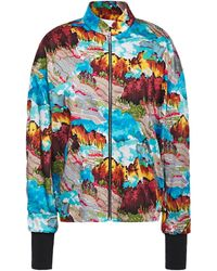 Victoria, Victoria Beckham Ruched Printed Satin-twill Bomber Jacket - Multicolour