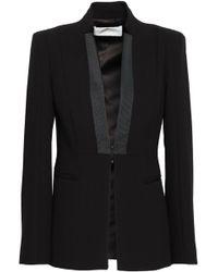 Amanda Wakeley Grosgrain-trimmed Crepe Blazer - Black