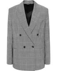 Filippa K Katie Double-breasted Wool And Cotton-blend Blazer Grey - Gray