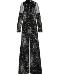 RED Valentino Pussy-bow Point D'esprit-paneled Printed Silk-blend Chiffon Jumpsuit - Black