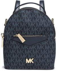 MICHAEL Michael Kors Convertible Two-tone Printed Textured-leather Backpack Navy - Blue