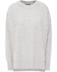 N.Peal Cashmere Cable-knit Cashmere Jumper Light Grey