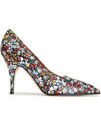 Victoria Beckham Dorothy 100 Floral-print Leather Court Shoes - Blue